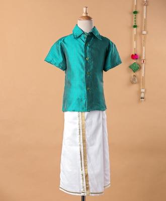Green cotton silk shirt and mundu for boys