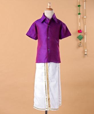 Purple cotton silk shirt and mundu for boys