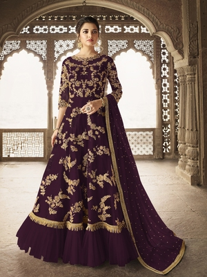 Wine embroidered net salwar