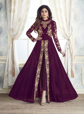 Wine embroidered faux georgette salwar