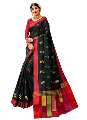 Black brasso banarasi cotton saree with blouse
