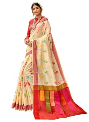 Cream brasso banarasi cotton saree with blouse