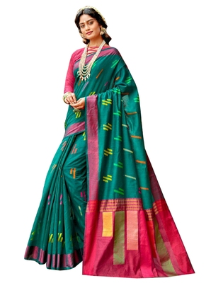 Green brasso banarasi cotton saree with blouse
