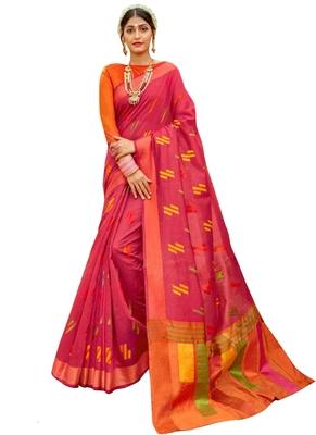 Pink brasso banarasi cotton saree with blouse
