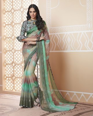Green Printed Chiffon Saree With Blouse