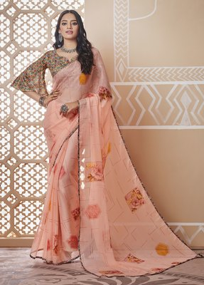 Peach printed chiffon saree with blouse