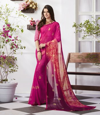 Pink printed faux georgette saree with blouse