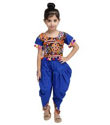 Blue Embroidered Choli With Dhoti For Girls