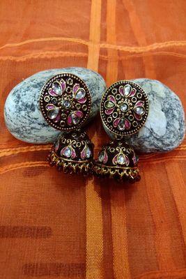 Maroon swarovski crystal jhumkas