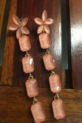 Beige crystal danglers-drops