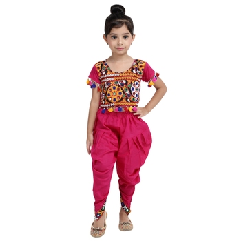 Pink Embroidered choli with dhoti for girls