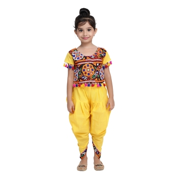 Yellow Embroidered Choli With Dhoti For Girls
