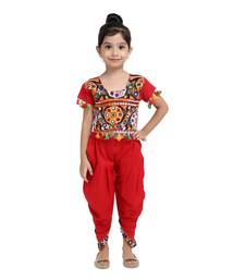 Red Embroidered Choli With Dhoti For Girls