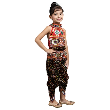 Black Embroidered Halter Neck Choli With Dhoti for girls