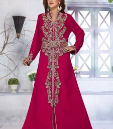 Magenta embroidered georgette islamic-kaftans