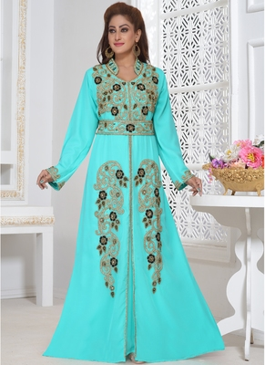 Turquoise embroidered georgette islamic-kaftans