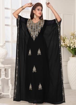 Black embroidered georgette islamic-kaftans