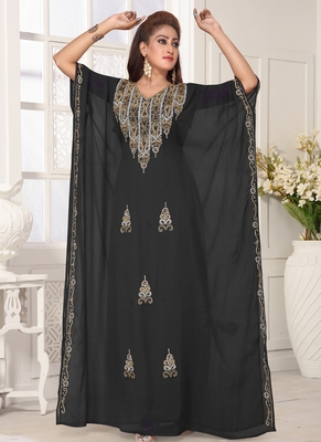 Grey embroidered georgette islamic-kaftans