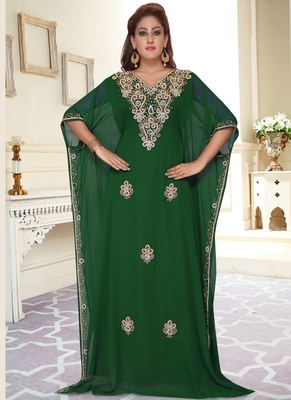 Green embroidered georgette islamic-kaftans