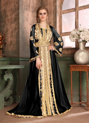 Black embroidered satin islamic-kaftans