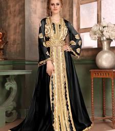 Black Embroidered Satin Islamic Kaftans