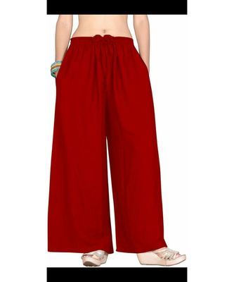 Women's Red Rayon  Flared Palazzo