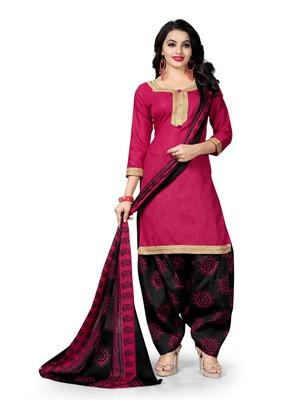 Pink block print cotton salwar