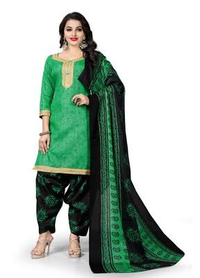 Green block print cotton salwar