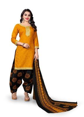 Mustard block print cotton salwar