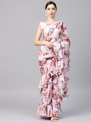 Multicolored Georgette Designer Ruffle Saree