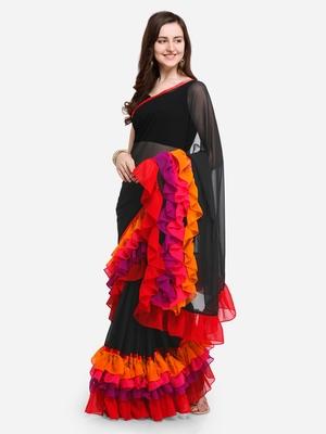 Black Colored Georgette Designer Ruffle Saree