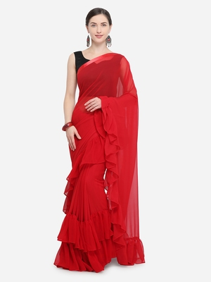 Red Color Georgette Plain Designer Ruffle Saree
