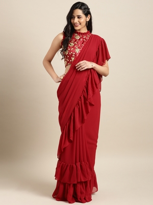Red Colored Georgette Designer Ruffle Saree