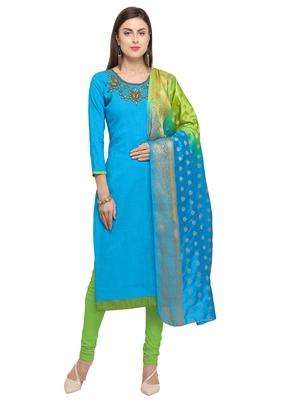 Blissta Women's Sky Blue & Green Slub Cotton Handwork Dress Material With Banarasi Dupatta