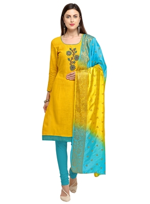 Yellow beads cotton salwar