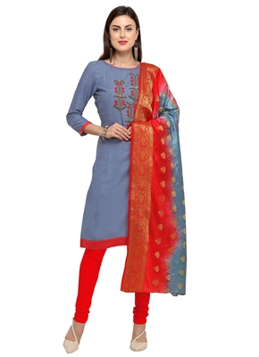 Grey beads cotton salwar