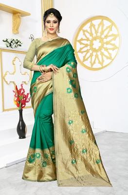 Green woven banarasi art silk saree with blouse