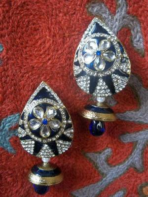 large purple meenakari earrings