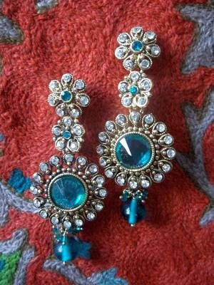 turquoise long kundan earrings