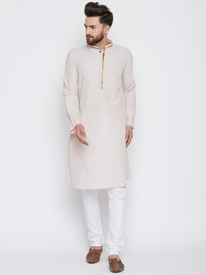 Beige woven pure cotton kurta-pajama