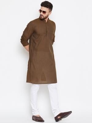 Brown woven pure cotton kurta-pajama