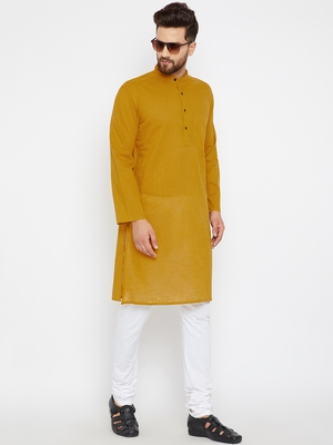 Yellow woven pure cotton kurta-pajama