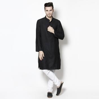 Black woven pure cotton kurta-pajama
