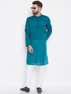 Green woven pure cotton kurta-pajama
