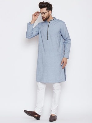 Blue woven pure cotton kurta-pajama