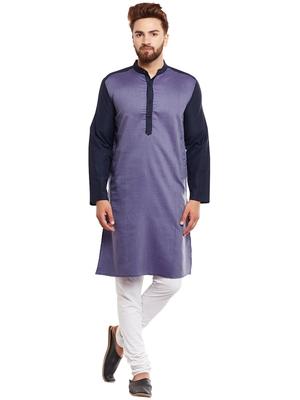 Blue woven pure cotton kurta-pajama