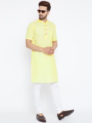 Yellow woven pure cotton kurta-pajama