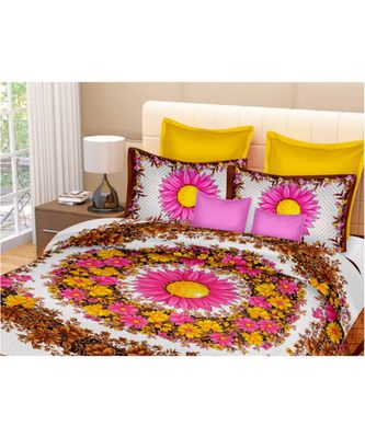 multicolor jaipuri Printed Double Bedsheet With Two pillow Covers (90*100)