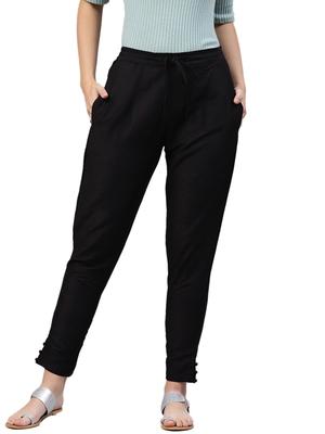 Women Black Polysilk Solid Trouser