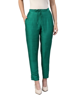 Women Dark Green Polysilk Solid Trouser
